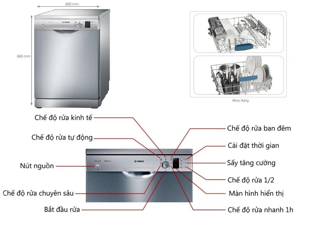 Máy rửa bát Bosch SMS25KI00E nhập khẩu